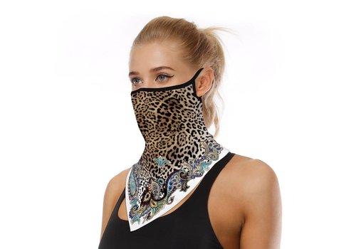 Peach Accessories Peach leopard print floral scarf mask