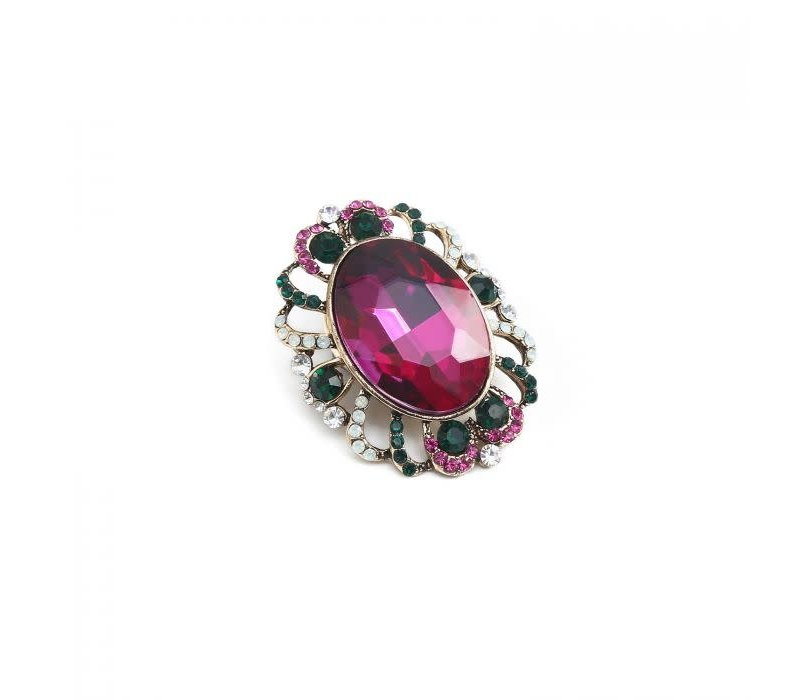 Peach 1520 magnetic jewelled Brooch