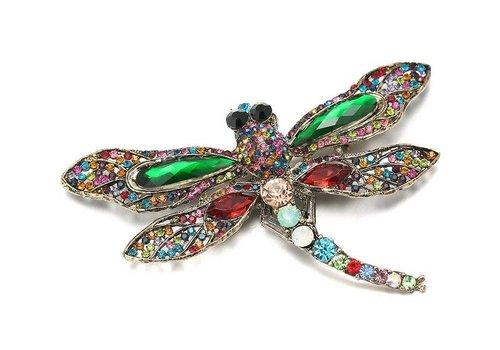 Peach Accessories Peach Crystal Dragonfly in Green