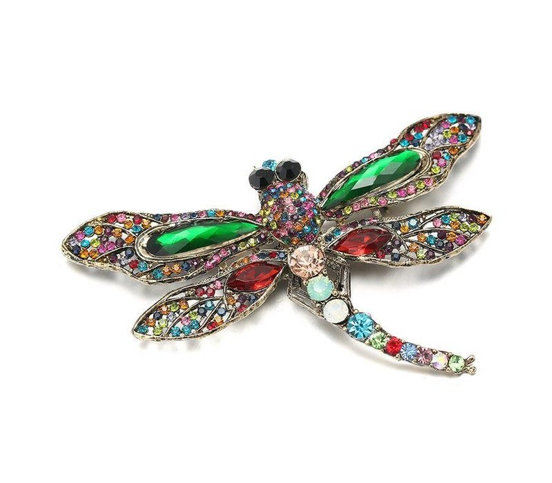 Peach Crystal Dragonfly in Green