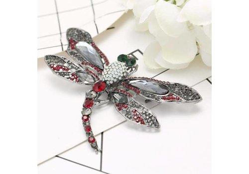 Peach Accessories Peach Crystal Dragonfly in Grey
