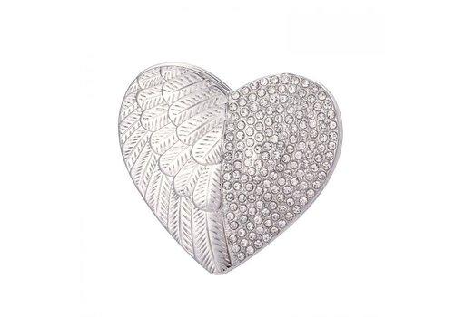 Peach Accessories Peach 103A-5 Silver heart magnetic Brooch