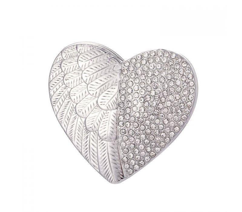 Peach 103A-5 Silver heart magnetic Brooch
