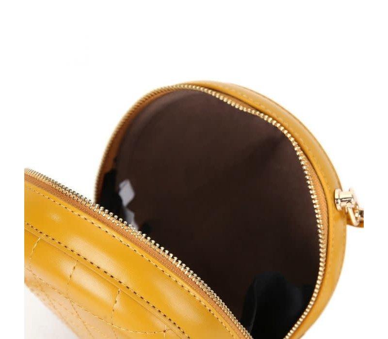 Peach 8010 Mustard circle cross body bag