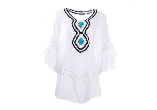 Peach Accessories Peach YG002 White with Turquoise lace Kaftan