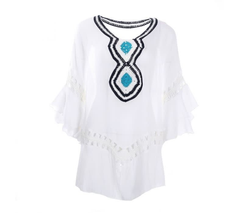 Peach YG002 White with Turquoise lace Kaftan