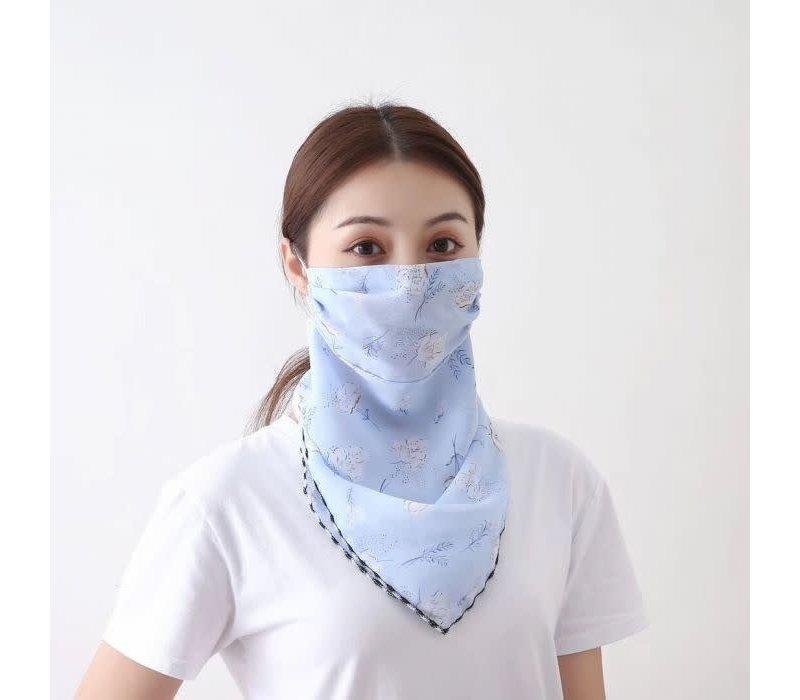 Peach Blue flower scarf masks