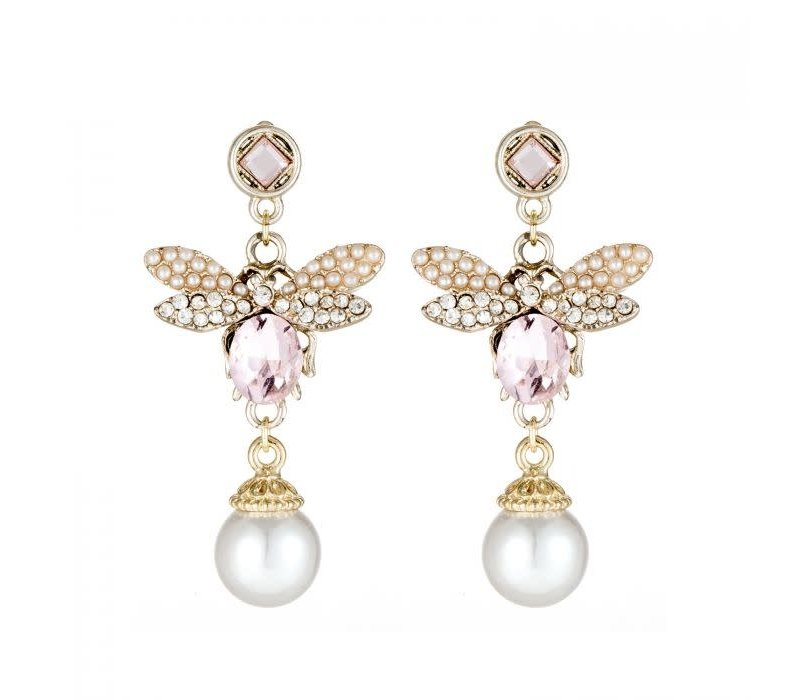 Peach ER034 Bee Earrings Pink
