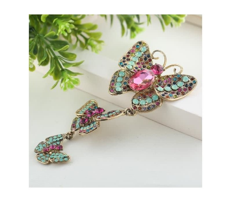 Peach 8373 Three Butterflies Brooch