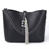 Peach 6972 Black leather tote Bag