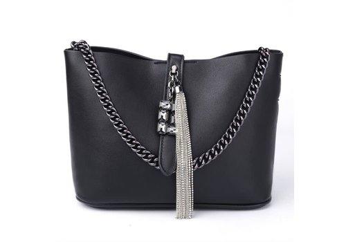 Peach Accessories Peach 6972 Black leather tote Bag