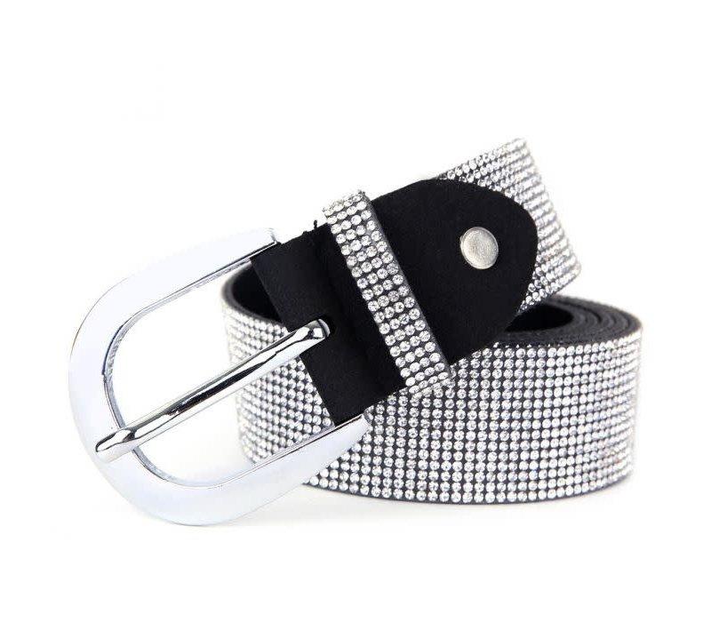 Peach BEL007 Black/Silver Crystal Belt