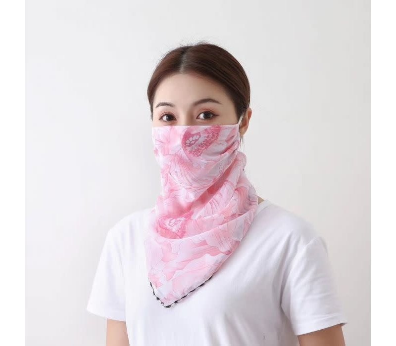 Peach Pink Orchid Scarf Mask