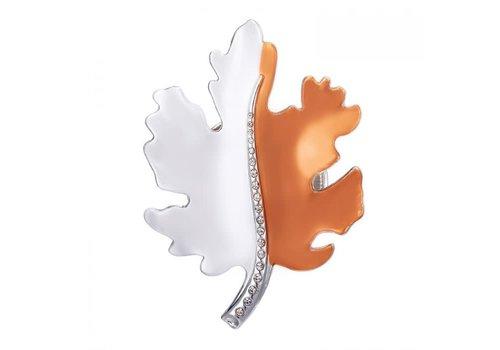 Peach Accessories Peach 103A-17 Silver/Orange Leaf Brooch