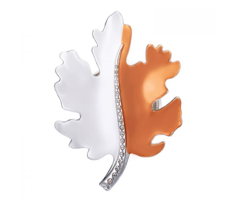 Peach 103A-17 Silver/Orange Leaf Brooch