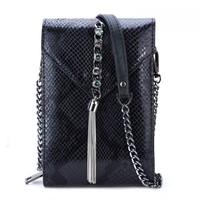 Peach 88966-1 Black Leather crossbody