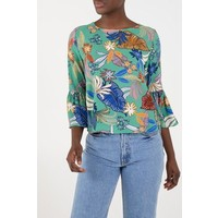 Green floral flared sleeve top