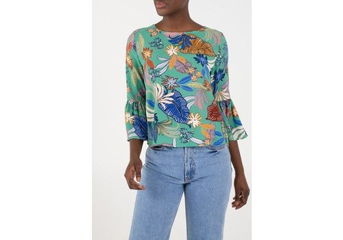 QED LONDON Green floral flared sleeve top
