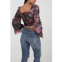 Flared sleeve button front crop top