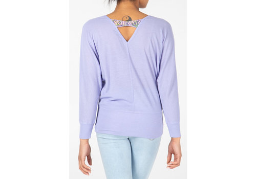QED LONDON Oversized Top with Beaded back detail Lilac