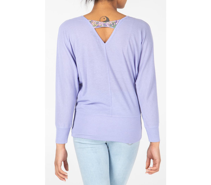 Oversized Top with Beaded back detail Lilac