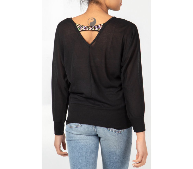 Oversized Top with Beaded back detail Black
