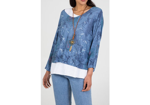 QED LONDON Abstract print 2 in 1 Necklace Top Blue