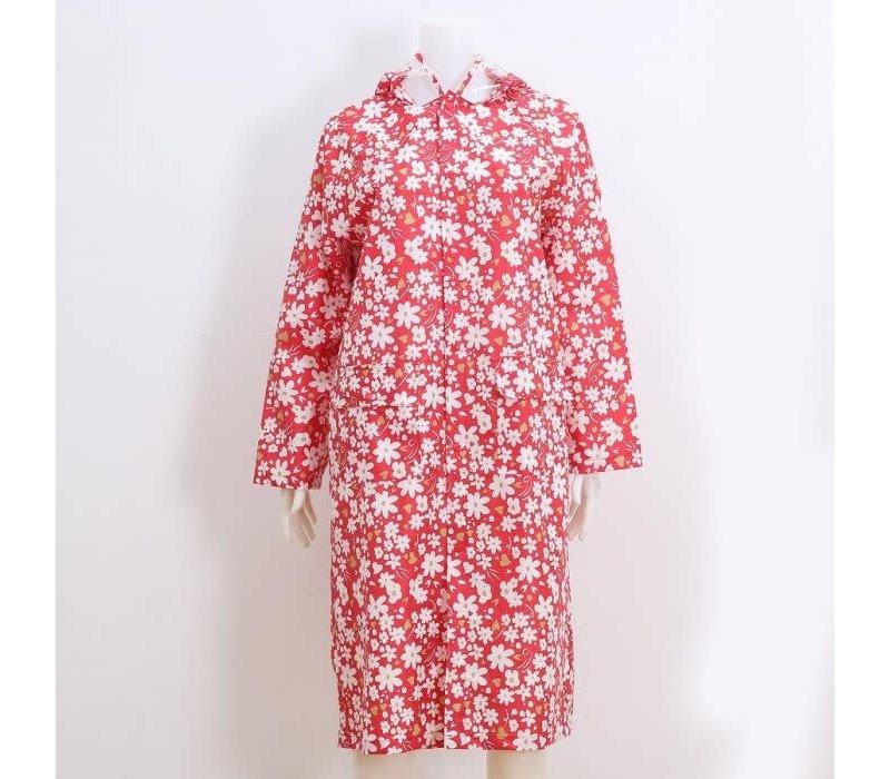 Peach Red/White Daisy Raincoat