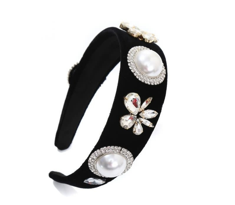 Peach HACH203 Pearl/Flowers Hairband