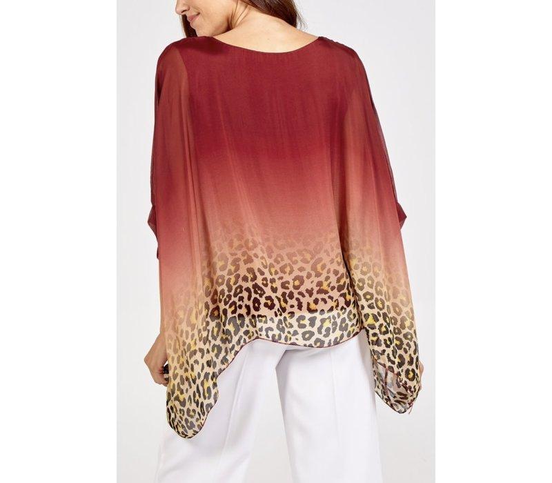 Lined silk dip dye Leopard top Burgundy