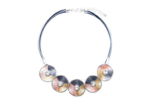 Peach Accessories Peach 103A-45 Silver/peach necklace