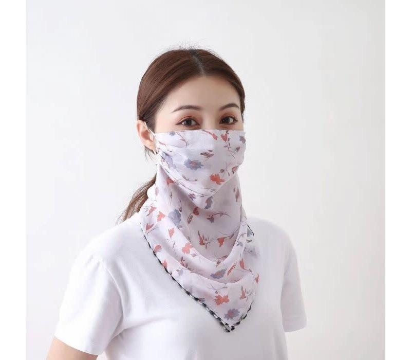 Peach Pansy scarf mask