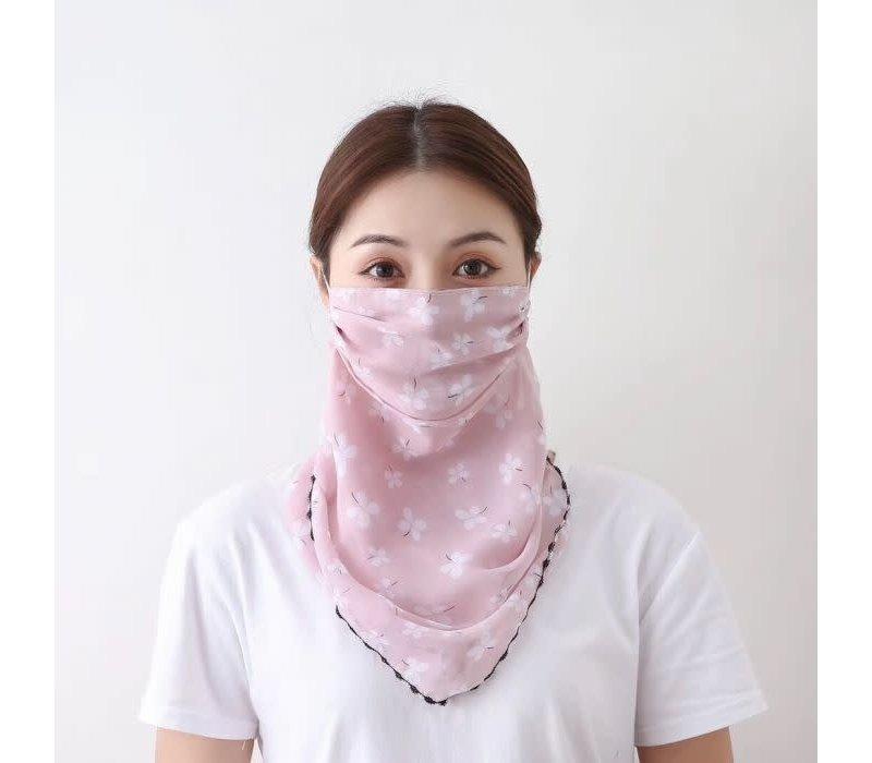 Peach Pink Daisy Scarf Mask