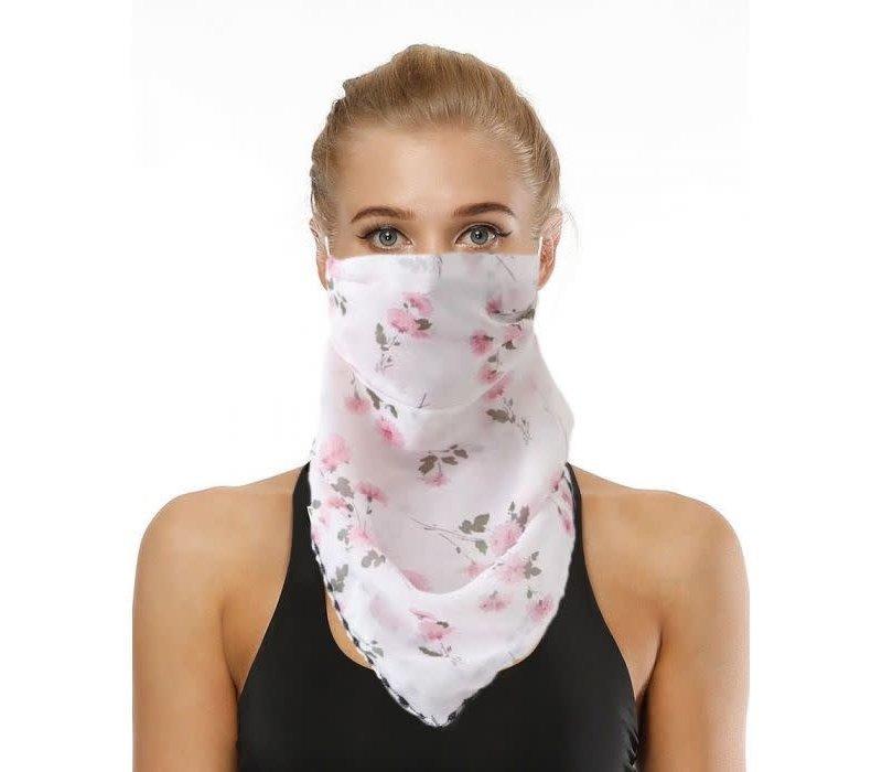 Peach Pink Carnation Scarf Mask