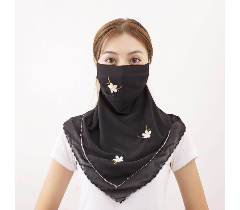 Peach Large Scarf Mask in Black