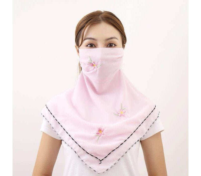 Peach Large Scarf Mask in Baby Pink