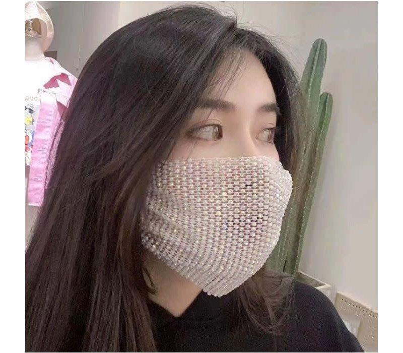 Peach White mesh Diamontè Mask