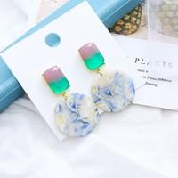 Peach ER052 Earrings in Green multi