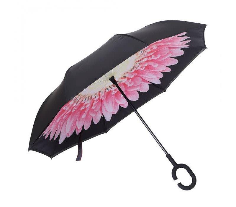 Peach P124 Pink flower Umbrella
