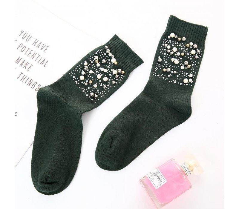 Peach SD1028 Pearl Embellished Socks