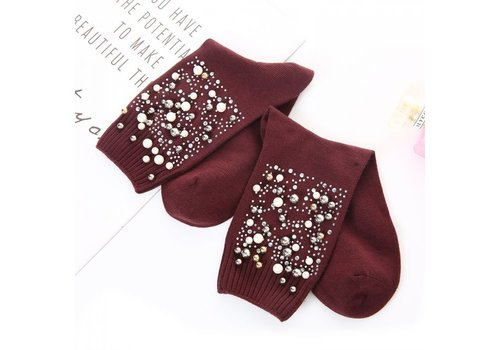 Peach Accessories Peach SD1028 Pearl Embellished Socks