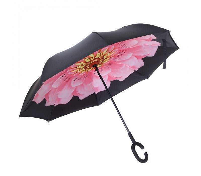 Peach P115 Pink Flower Umbrella