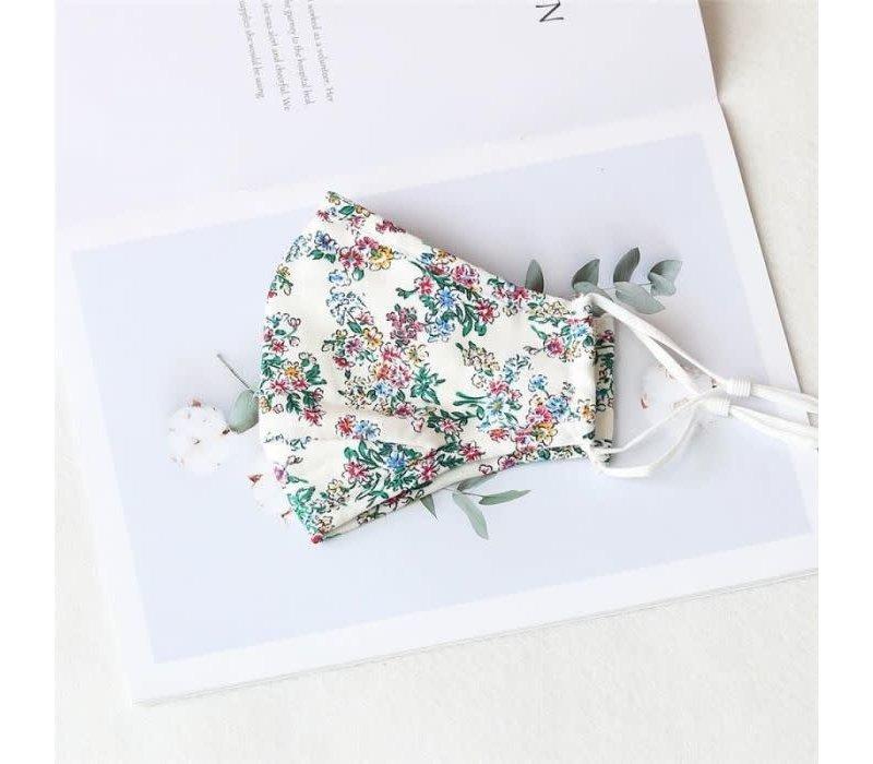 Peach 0003 White Flower cotton Mask