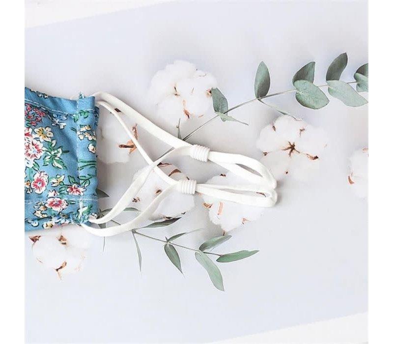 Peach 0003 Blue Flower cotton Mask