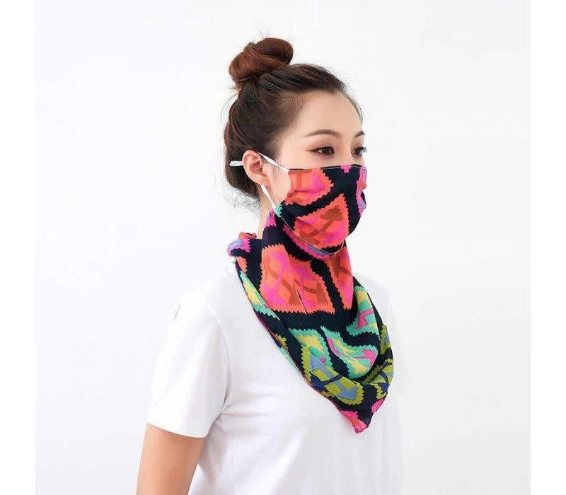 Peach 0016 Aztec print large Scarf Mask