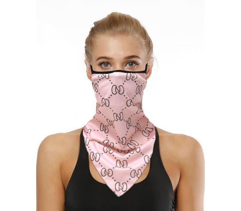 Peach 0002 Pink CC Print Scarf Mask
