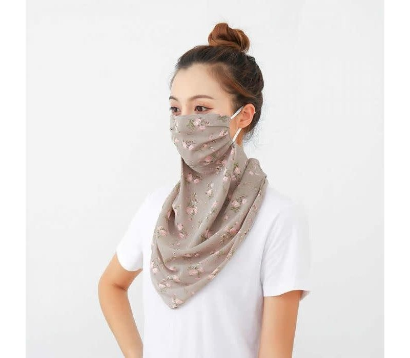 Peach 0016 Taupe Poppy Large Scarf Mask