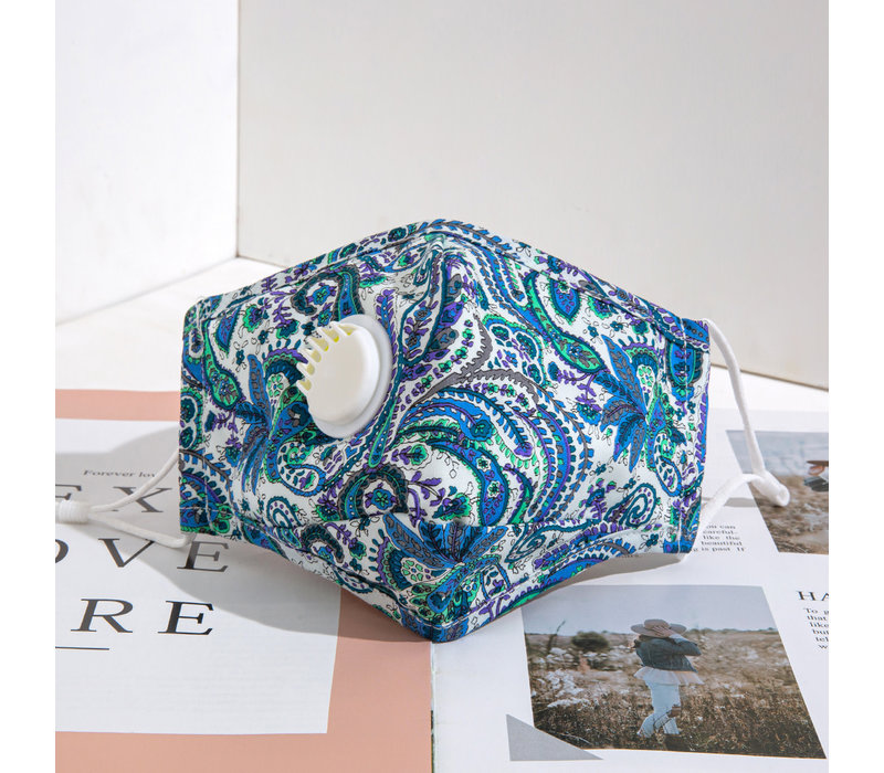 Gessy FM032 Blue Paisley Cotton valve Mask