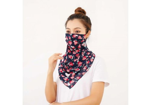 Peach Accessories Peach 0016 Navy/Strawberries Large scarf mask
