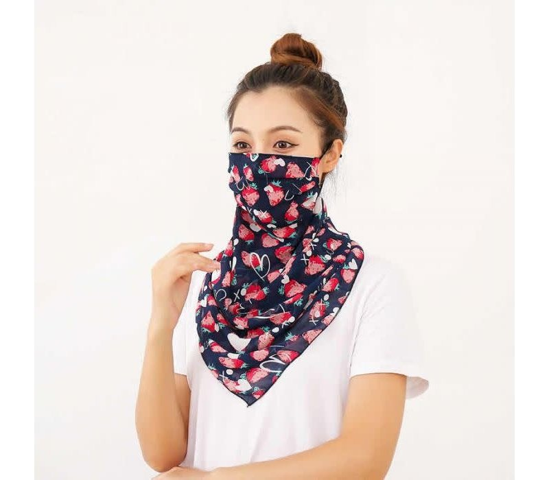 Peach 0016 Navy/Strawberries Large scarf mask